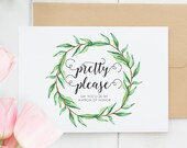 Will You Be My Matron of Honor Card, Funny Pretty Please Matron of Honor, Cute Card Ask Matron of Honor, Boho Will You Be My, Wreath