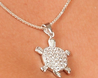 Turtle, Solid 925 Sterling Silver Pendant with Zirconia Gemstones