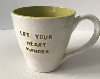 Let Your Heart Wander Engraved Ceramic Cup - Green & White