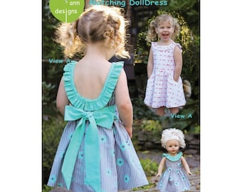 Olive Ann Designs - Penelope Dress and matching Doll Dress - Sewing Pattern