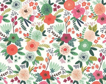 Riley Blake On Trend Floral Main White (Half metre)