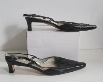 TALBOTS Shoes Size: 6 Women's Heels Slingback Pointed Toe Leather Upper Sole Vintage A1548