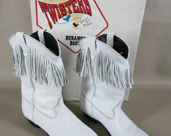NOS Durango Twisters white fringe dancing boots Size 7 1/2