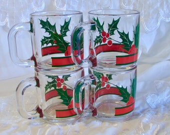 Clear Holly Designed Coffee Mugs, Replacement Cups Mugs, Christmas Mugs, Coffee Mugs or Hot Toddy Cups, Hot Drink Cup
