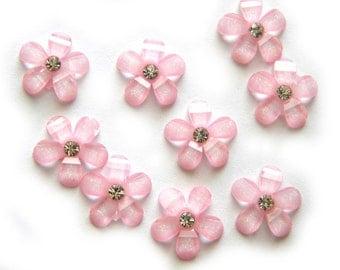 10 Pink Rhinstone Flatbacks - Resin Cabochons