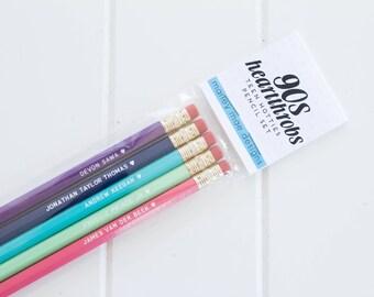 90s heartthrobs pencil set, funny pencils