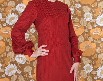 Burgundy Striped Corduroy Dress with Bagged Sleeves
