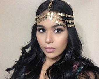 SEVEN strand Goddess Celebrity bohemian gold coin 7 string head chain Grecian Boho Hair Jewelry Accessory birthday prom bride bohemian