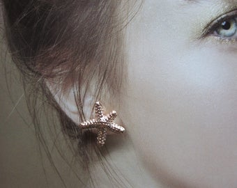 Starfish Rose Gold Plated Stud Earrings, Starfish Stud Earrings, Rose Gold Starfish Earrings, Post Earrings, Gift for Her, Gift Box Included