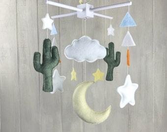 Baby mobile - cactus mobile - saguaro cactus - felt cactus - cloud mobile - moon mobile - nursery decor - desert mobile - saguaro cacti