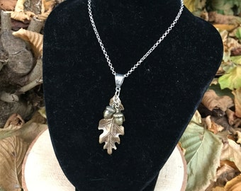 Large Brass Oak Leaf & Double Acorn Necklace