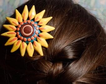 Hand Sculpted Rosemaling Sunflower Hair Comb