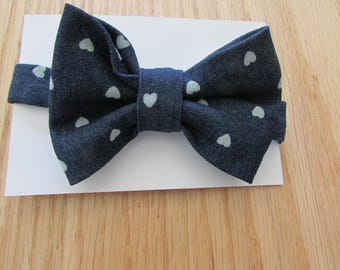 Boys Denim Bowtie, Navy Bowtie With White Hearts