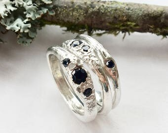 Forest Rain Sapphire Stacking Rings