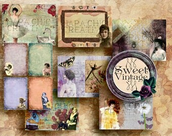 Sweet  Vintage  Printable Journal Kit  Victorian  DIY Journal  Digital journal kit  ephemera pack  journaling cards  collage papers