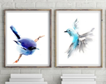 Birds print set, art print of bird, set of 2, watercolor painting of bird, blue, turquoise, bird wall art