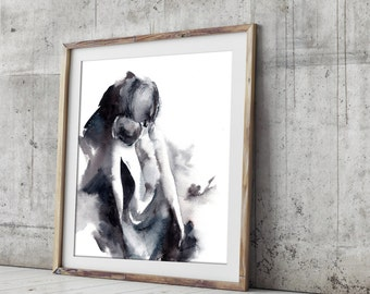Abstract female figure watercolor print, art print from watercolor painting, modern wall  art