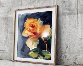 Art Print of Yellow Rose, watercolor painting art print, floral painting, modern wall art