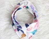 Organic Watercolor Floral Bandana Bib / Floral Bib / Knit Bandana Bib