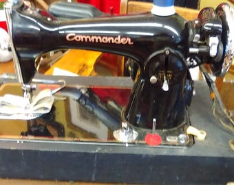 Commander Portable Sewing Machine by Sears and Roebuck Co Made In USA with Case