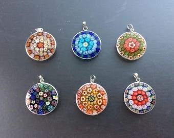 6 Assorted Silver Plated Millefiori Circular Glass Pendants