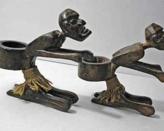 Black Americana Running Men Wooden Candle Votive Holders