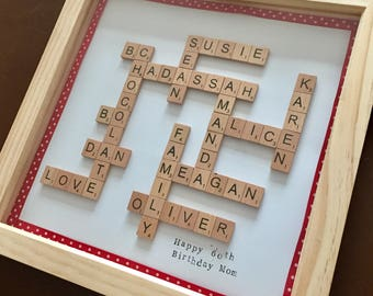"large family name frame family tree scrabble art 14""x14"" personalised new home gift"