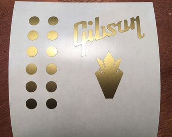 Gibson Crown and dots Replacement Headstock Decals, Gibson Guitar, Gibson Logo, guitar headstock decal stickers, Gibson Les Paul