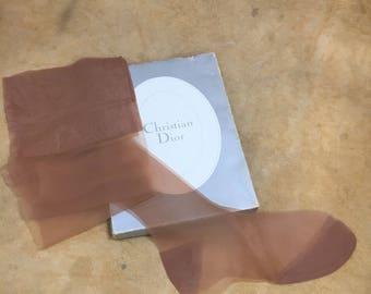 Vintage Christian Dior Stockings Nylons Thigh High // Retro Hosiery NIB 10 M Sandalfoot