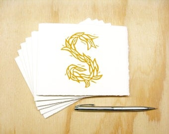 Letter S Stationery - Set of 6 Block Printed Cards - Choose Your Color - Personalized Gift - MADE TO ORDER