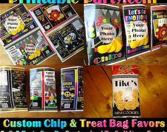 Print Ship Service or PDF Personalized Chip Bags | Custom Chip Bags | Candy Buffet Bags | Printable Favors
