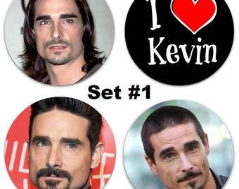 """Set of 4 Kevin Richardson Large 2.25"""" Pinback Buttons or Magnets - Choose Your Favorite Set Backstreet Boys BSB"""