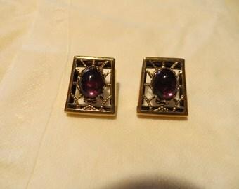 Gold Earrings with Purple Gemstones