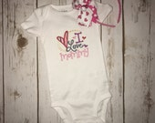 I Love Mommy | Embroidered Onesie Shirt or Dress | Valentine's Day | Girl