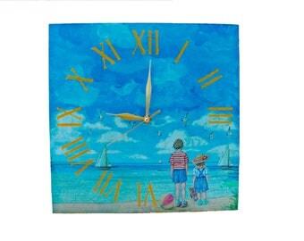 Wall clock kids on the beach / Wall clock picture Decor / Vintage decor /Decoupage wall clock/