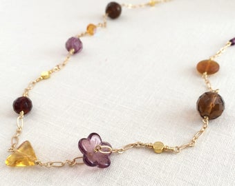 Gold long chain necklace. Glass beaded long necklace. Purple, yellow, topaz station necklace. Gold chain, glass bead multicolor necklace.