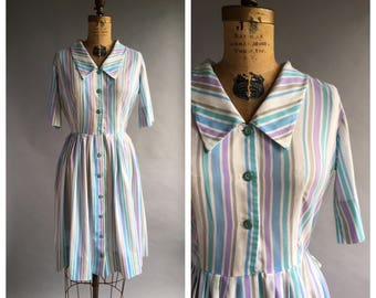 1960's Striped Day Dress