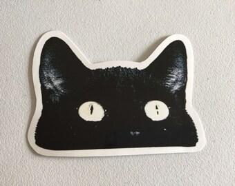 Black Cat Laptop Sticker, Cat MacBook Sticker, Peeping Cat Sticker Gift, Crazy Cat Lady Gift, Cat Lover Gift