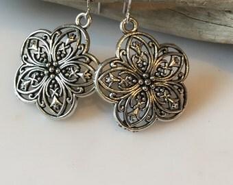 Silver Flower Earrings, Boho Earrings, Ornate Filigree Flower Earrings, Dangle Earrings, Lead Free, Silver Earrings
