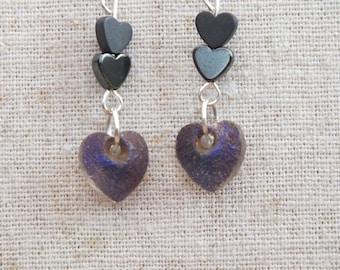 Heart earrings, blue earrings, haematite / hematite earrings, love earrings