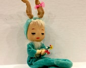 Vintage Bunny Girl  Doll, Stockinette Face, Fur Hair, Velvet Bunny Suit, PomPom Tail,  Posable, Pixie Easter Rabbit Japan, 1950s