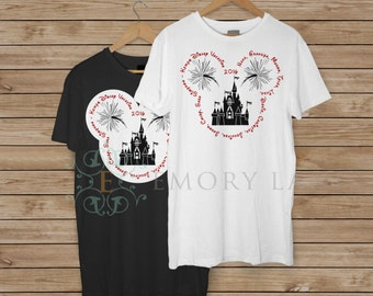 MOST REQUESTED DESIGN - Mouse Silhouette with Personalized Text, Disney Vacation, Castle, Fireworks, Family Vacation, Family Matching Shirts
