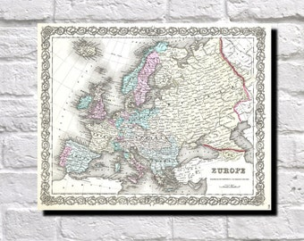 Vintage Map of Europe, European wall map 1855 Colton Map of Europe, Map Wall Art Decor, 9514