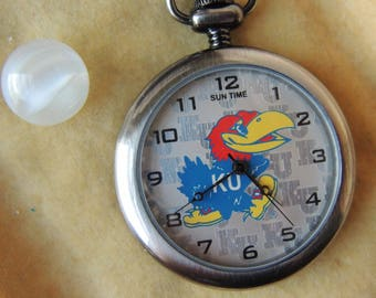 Vintage Kansas Jayhawks Pocket Watch