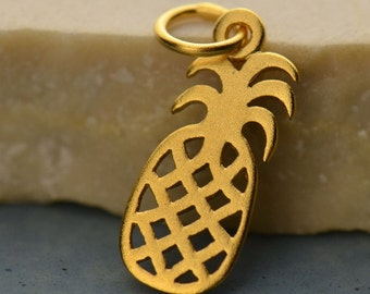 Sterling Silver Pineapple Charm. Or 24K Gold Plated Sterling Silver Pineapple Charm.