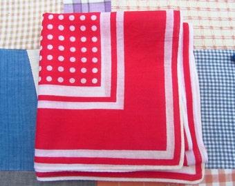 Vintage Bandana Handkerchief Red White Polka Dots Stripes Cotton Scarf