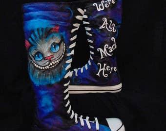 Cheshire Cat Alice in Wonderland Knee High Sneaker Shoes
