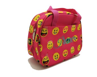Pink Emoji Lunch bag with with Embroidery-Name or Monogram -School lunch bag, field trip bag