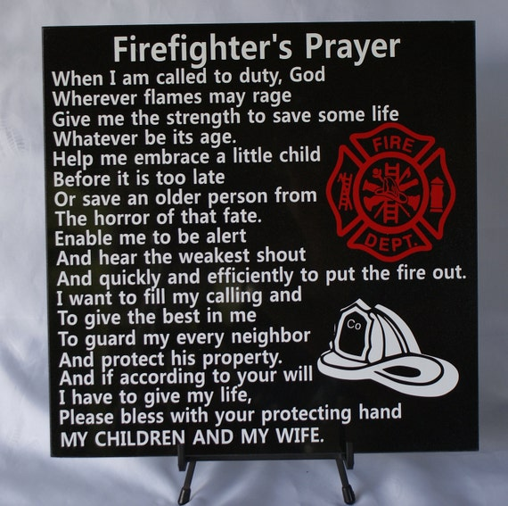 House Fire Sympathy Quotes: Firefighter's Prayer Fireman Tribute Gift For