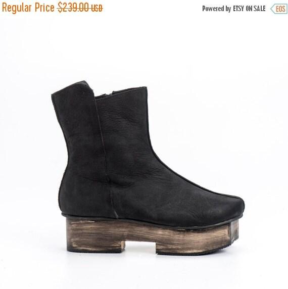 Black Leather Booties / Women Leather Shoes / Casual Leather Boots / Office Shoes / Designers Leather Shoes / Wood Heels Shoes - Yoko